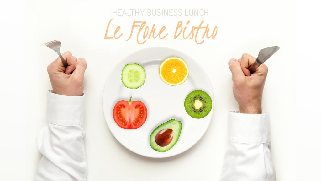 Healthy Business Lunch on Plate — Crear un diseño