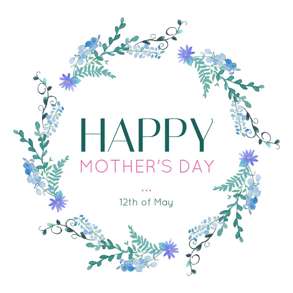 Mother's Day Greeting Blue Spring Flowers Wreath — Создать дизайн