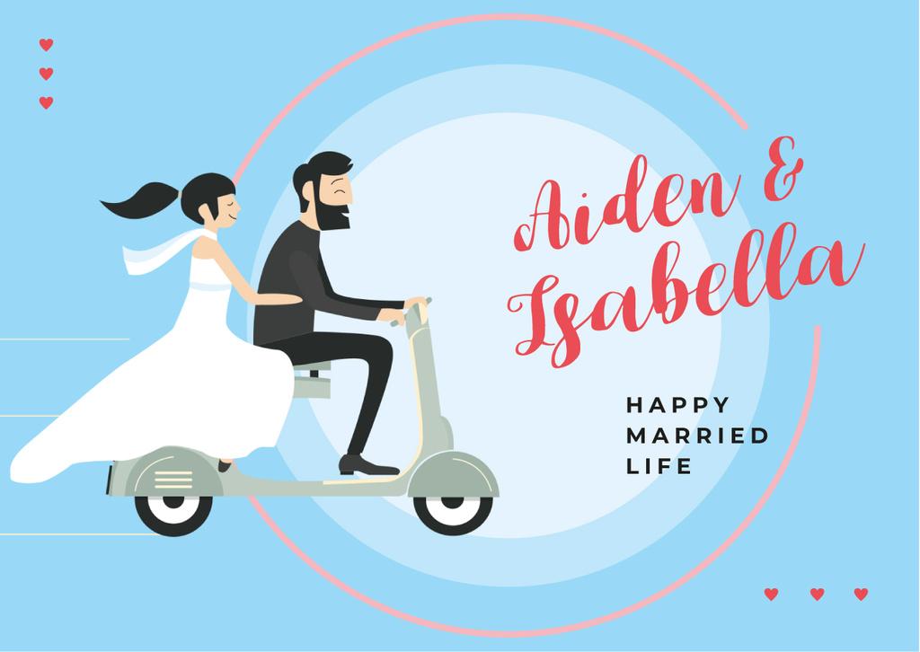 Wedding Greeting Couple of Newlyweds Riding Scooter — Modelo de projeto