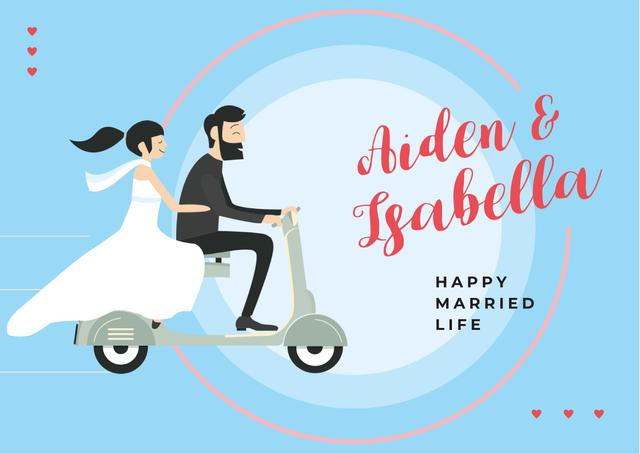 Wedding Greeting Couple of Newlyweds Riding Scooter Cardデザインテンプレート