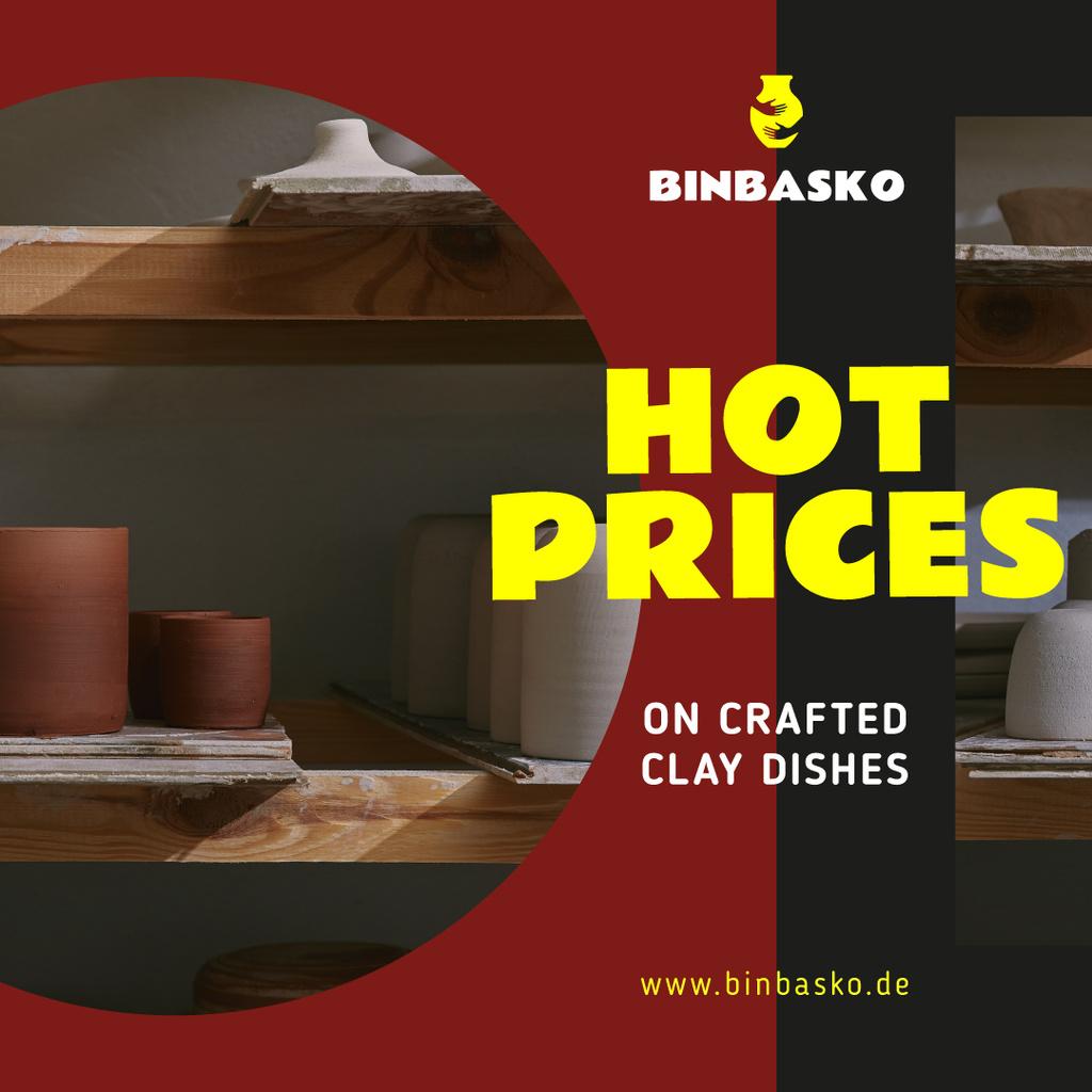 Designvorlage Pottery Promotion Ceramics on Shelves für Instagram AD