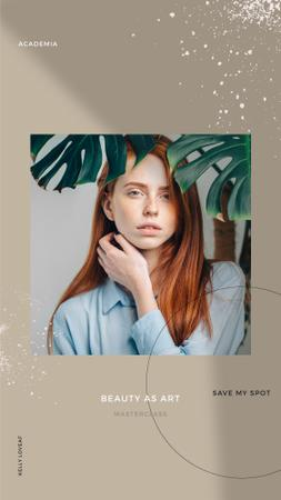 Plantilla de diseño de Beauty Masterclass Annoucement with Woman under Flower Instagram Story