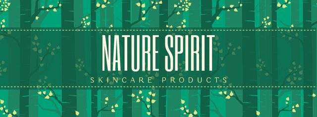 Skincare Products ad Trees in green forest Facebook Video cover Design Template