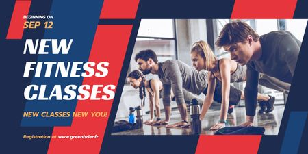 Fitness Classes Ad with People Exercising Twitter – шаблон для дизайну