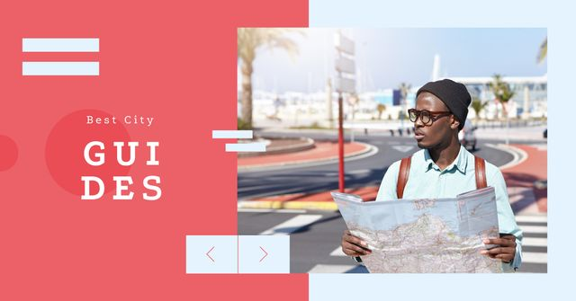 Template di design City Guide Man with Map on Street Facebook AD