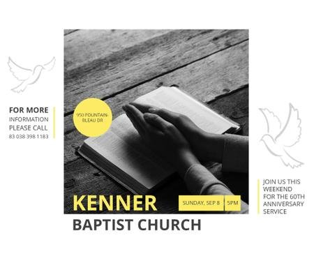 Template di design Prayer Invitation Hands on Bible Book Facebook
