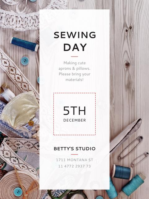 Sewing day event with needlework tools Poster US Tasarım Şablonu