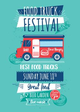 Food Truck Festival Announcement in Blue | Flyer Template
