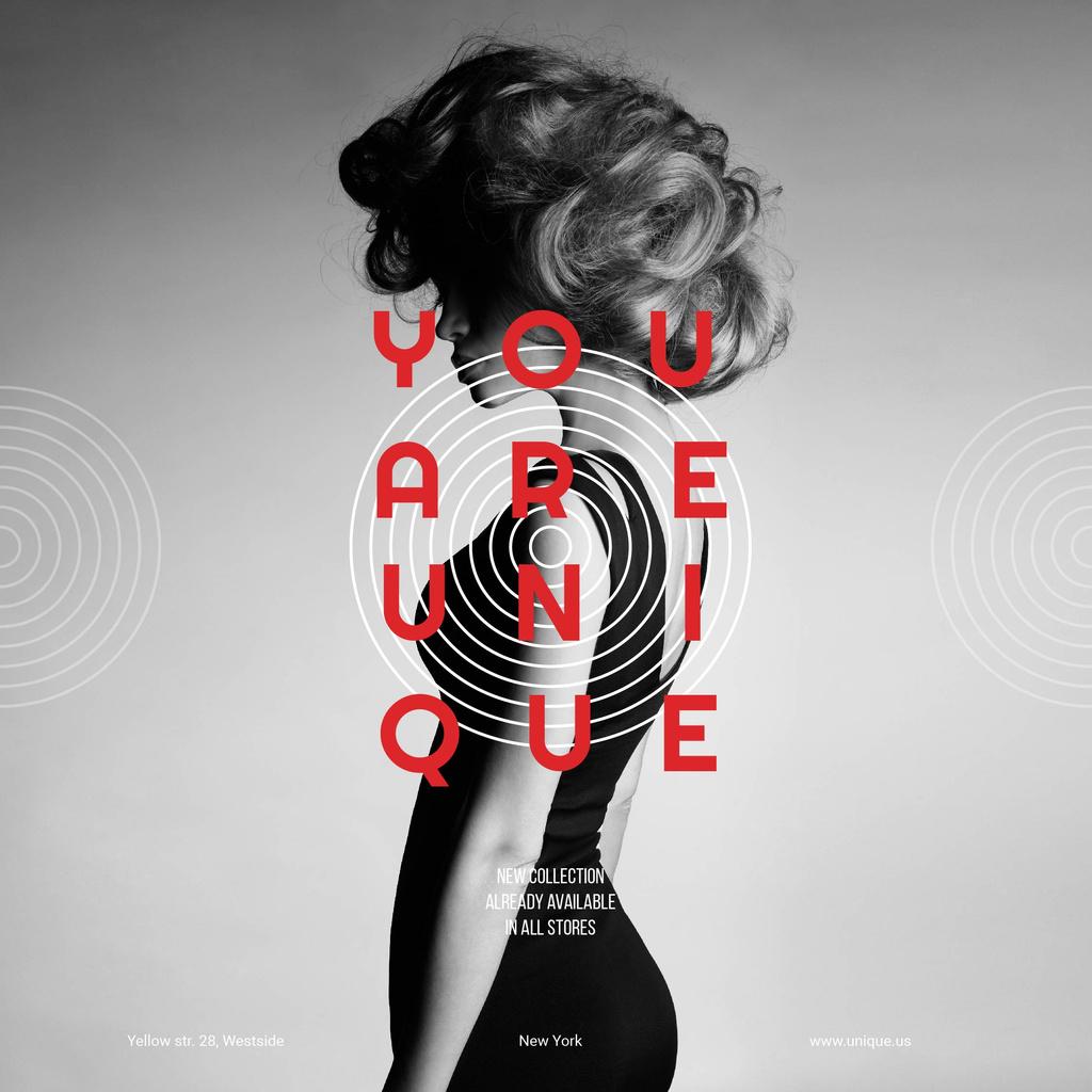 Fashion collection poster with woman — ein Design erstellen