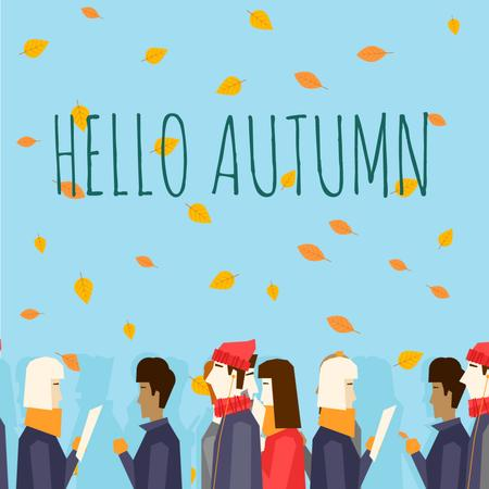 Template di design People Walking Under Falling Autumn Leaves Animated Post