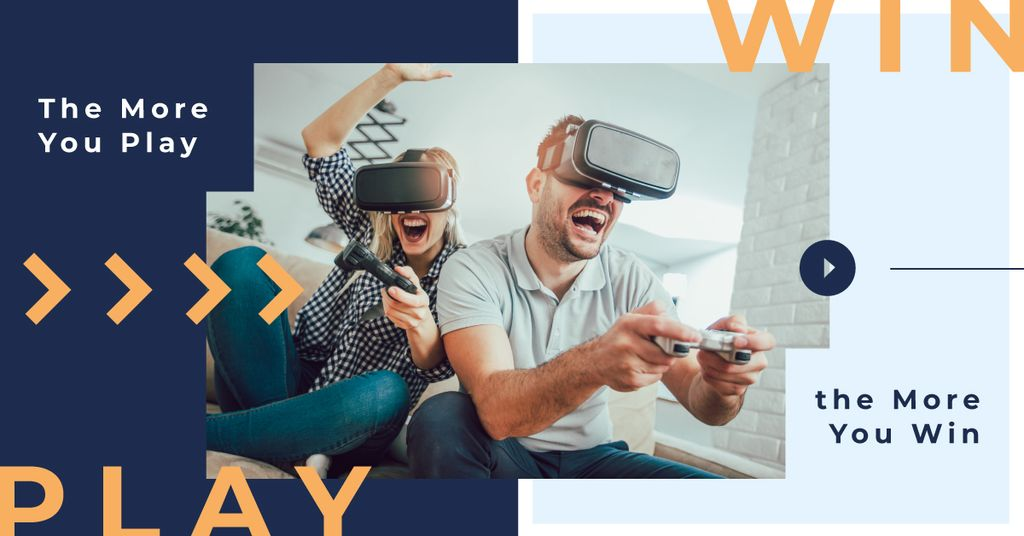 Gaming Quote People Using VR Glasses | Facebook AD Template — Maak een ontwerp