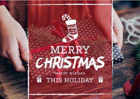 Merry Christmas Greeting with Woman Wrapping Gift Postcard – шаблон для дизайну