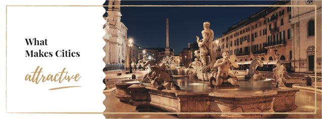 Plantilla de diseño de Fountain sculpture on city square Facebook cover