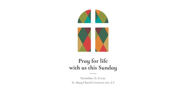 Invitation to Pray with Church Window Twitter Modelo de Design