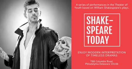 Shakespeare's performances with Actor holding Skull Facebook AD Modelo de Design