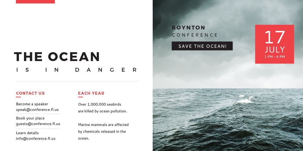 Ecology Conference Invitation with Stormy Sea Waves — Maak een ontwerp