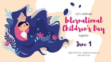 Children's Day Child with Loving Mom FB event coverデザインテンプレート