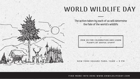 Ontwerpsjabloon van Title van World Wildlife Day Event Announcement Nature Drawing