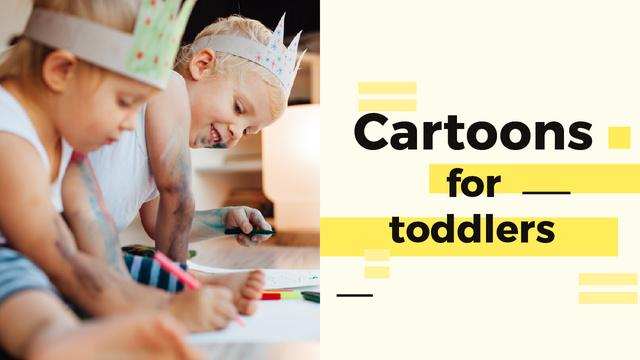 Ontwerpsjabloon van Youtube Thumbnail van Happy Kids Drawing in Yellow