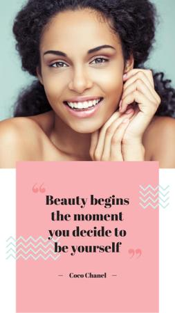 Beauty Quote with smiling Woman with glowing Skin Instagram Story – шаблон для дизайна