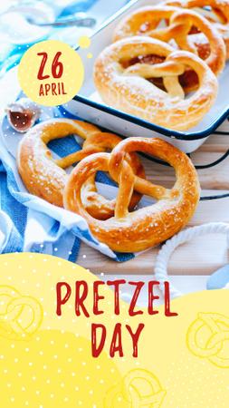 Delicious baked pretzels on Pretzel Day Instagram Story – шаблон для дизайну