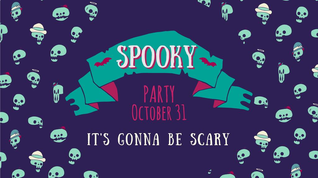Party Invitation Spooky Halloween Skulls in Blue | Full Hd Video Template — Create a Design