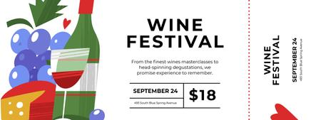 Plantilla de diseño de Wine Festival with Cheese and Bottle Ticket