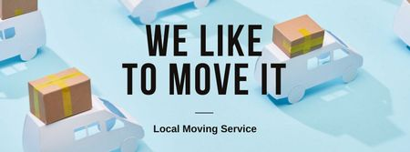 Moving Services ad with Trucks Facebook cover Tasarım Şablonu
