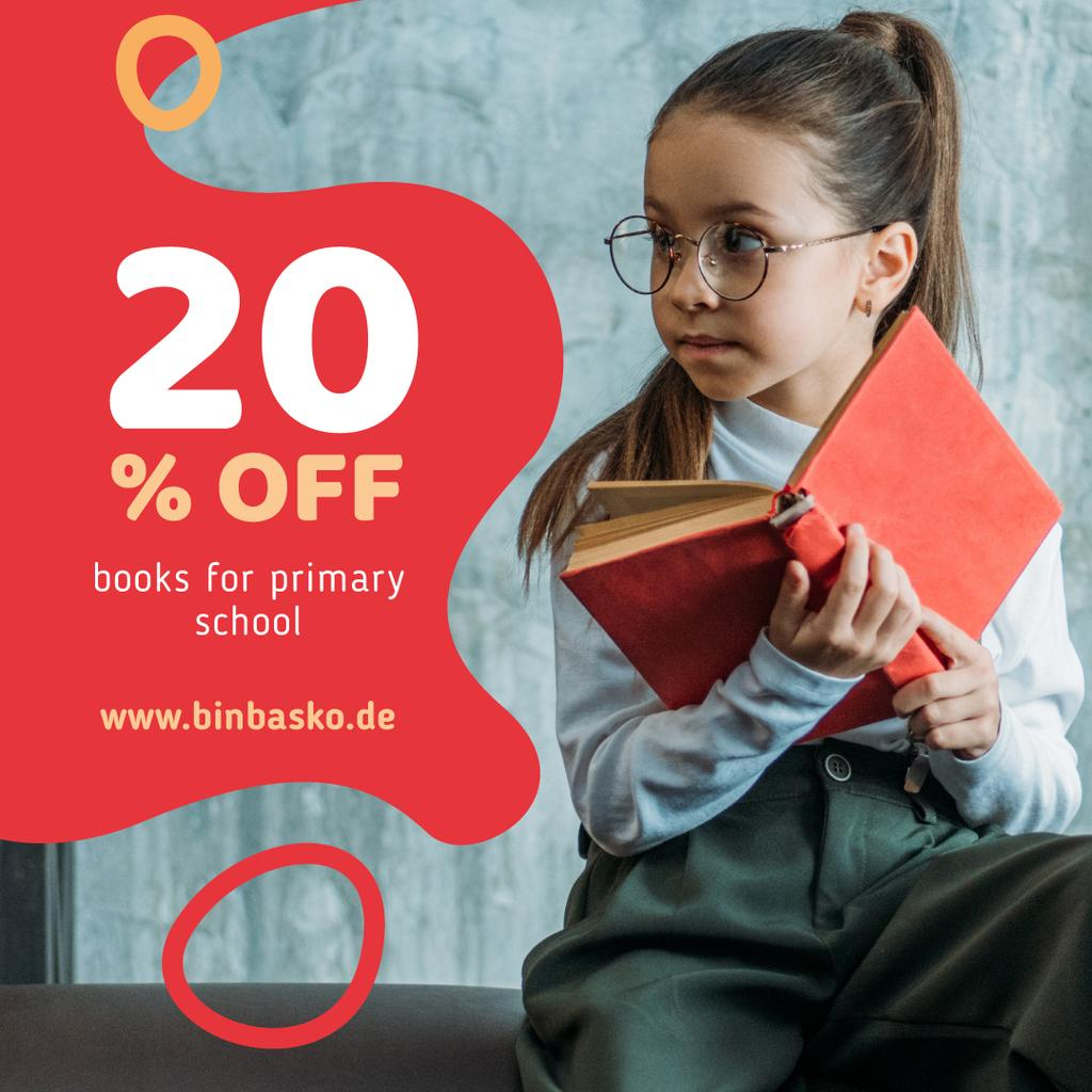 Books Offer Girl Reading in Red — Créer un visuel