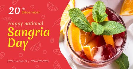 Template di design Sangria Day Invitation Drink in Glass Facebook AD