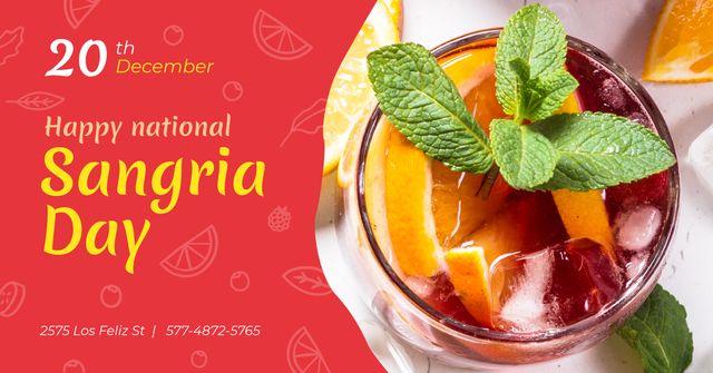 Sangria Day Invitation Drink in Glass Facebook AD Modelo de Design