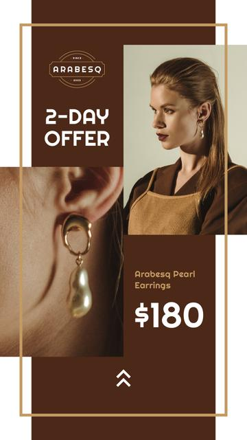 Template di design Jewelry Offer Woman in Pearl Earrings Instagram Story