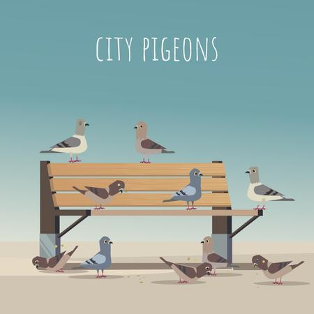 Plantilla de diseño de Pigeons pecking grain on a bench Animated Post
