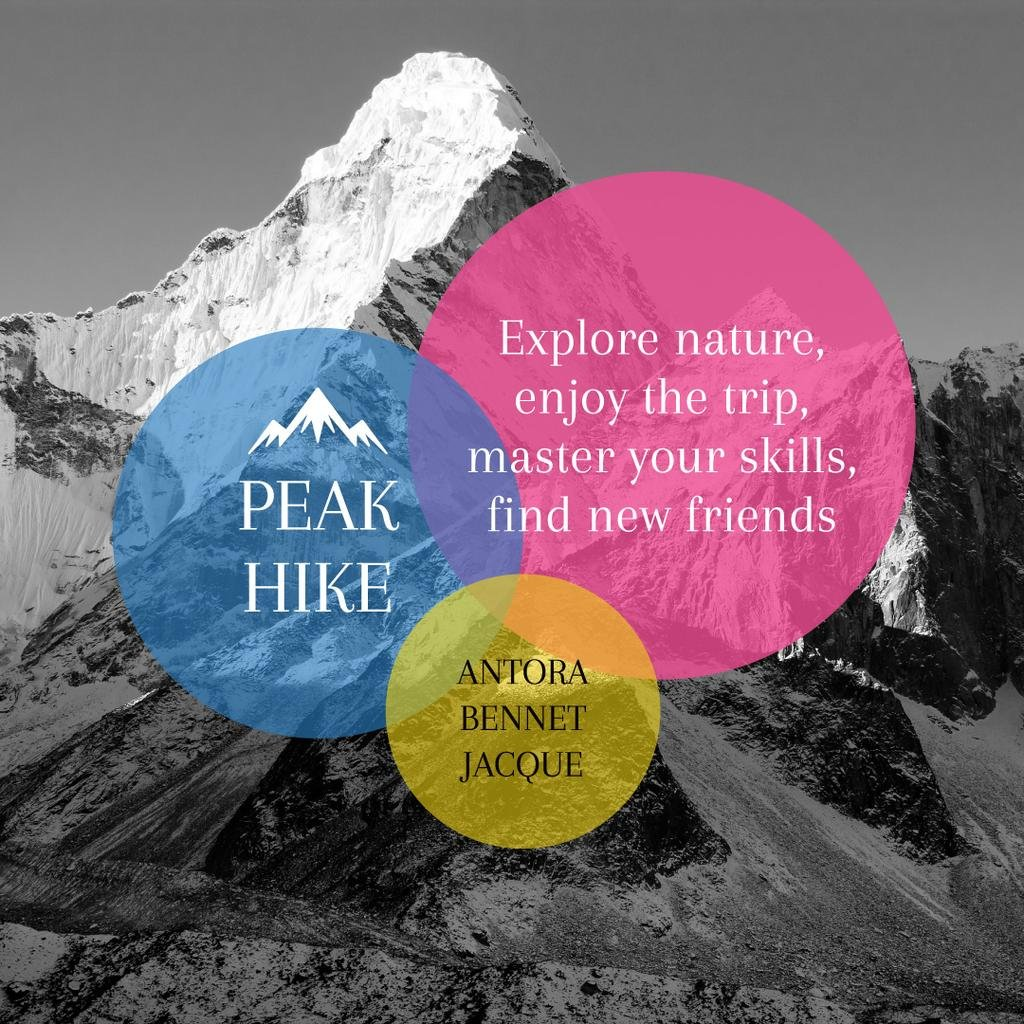 Peak hike trip announcement — ein Design erstellen