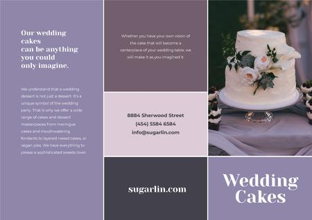 Wedding Cakes Offer in Purple Brochure Modelo de Design