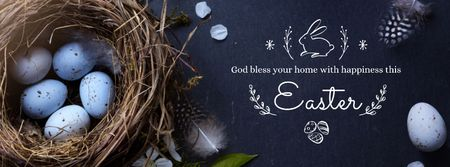 Happy Easter Day with bird's Nest Facebook cover – шаблон для дизайна
