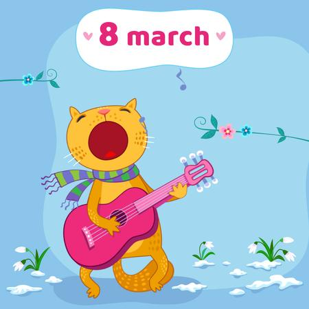 Funny cat playing guitar on March 8 Animated Postデザインテンプレート
