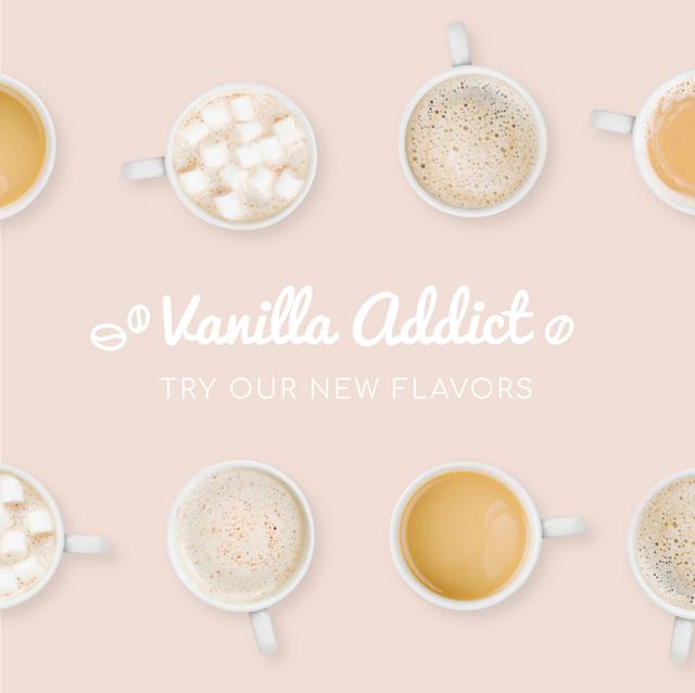 Plantilla de diseño de Rows of cups with various drinks Animated Post