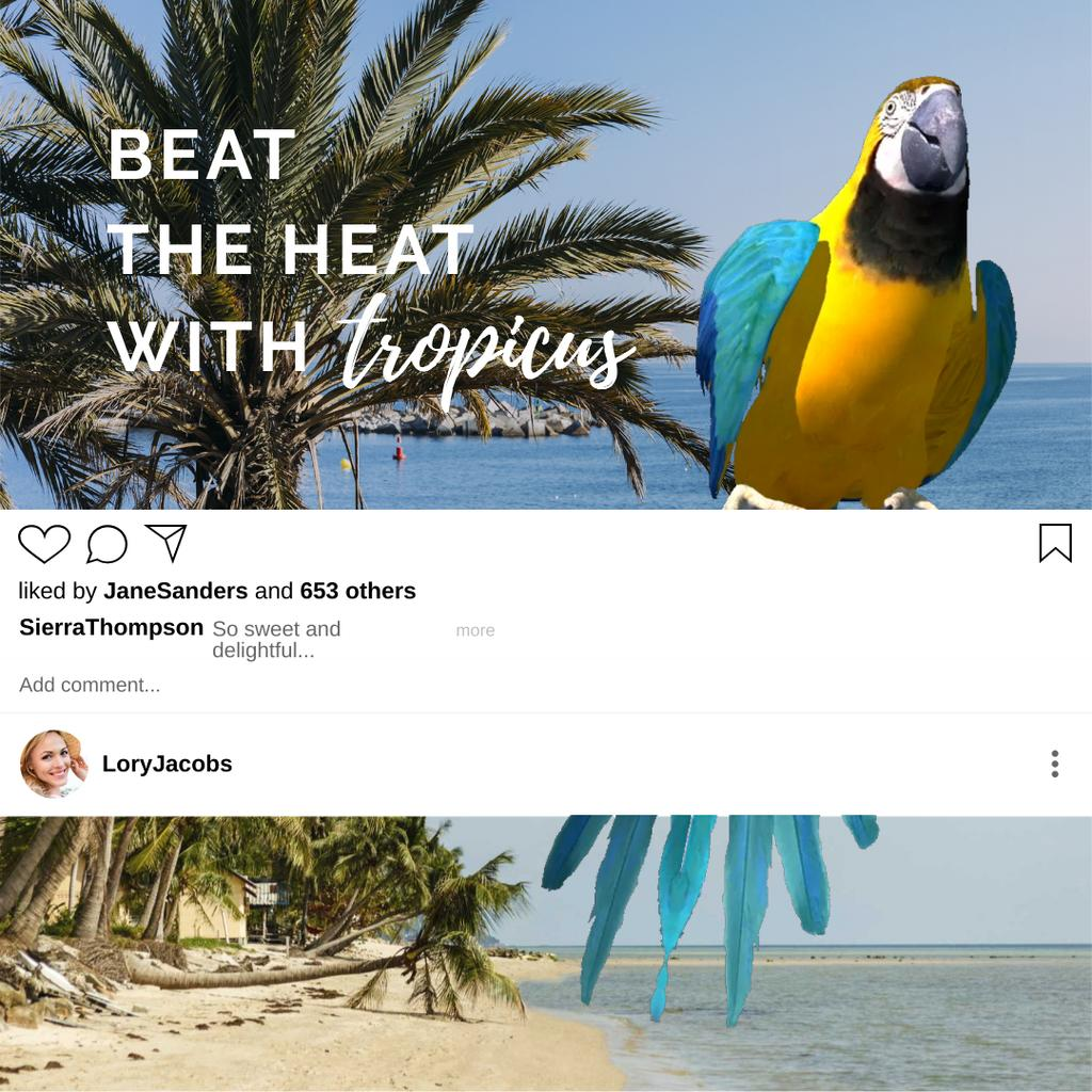 Parrot at Tropical Beach for Travel offer — Create a Design