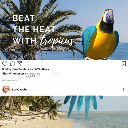 Plantilla de diseño de Parrot at Tropical Beach for Travel offer Animated Post