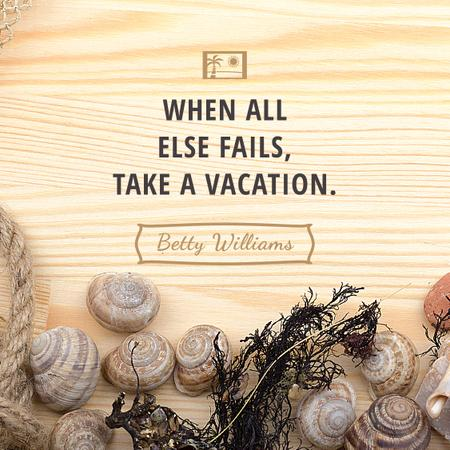 Travel inspiration with Shells on wooden background Instagram AD – шаблон для дизайну
