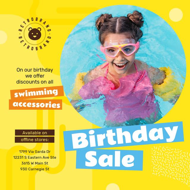Ontwerpsjabloon van Instagram van Birthday Sale with Girl in Pool