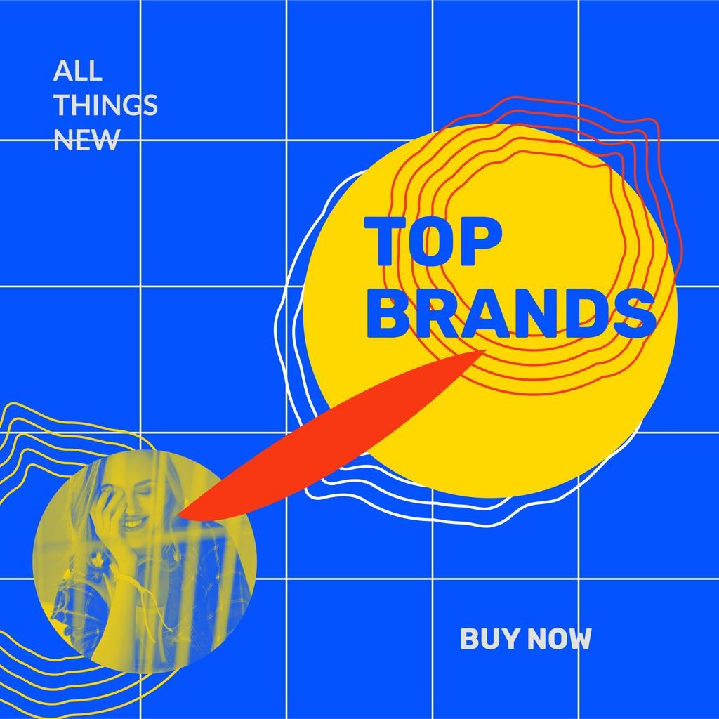 Ontwerpsjabloon van Instagram van Fashion Brands store Ad with smiling Woman