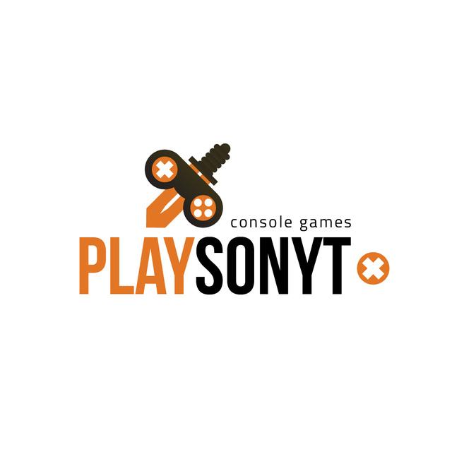 Ontwerpsjabloon van Logo van Console Games Ad with Sword Icon