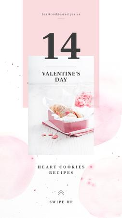 Valentine's Day Heart-Shaped Cookies in Pink box Instagram Story Modelo de Design