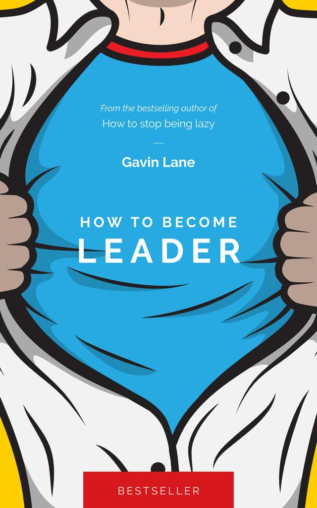 Leader Man in Superhero Shirt Book Cover Design Template