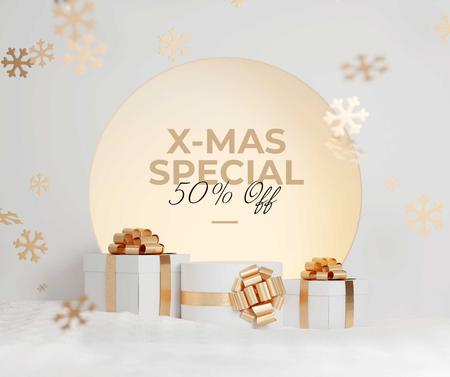 Template di design Xmas Sale with Presents Facebook
