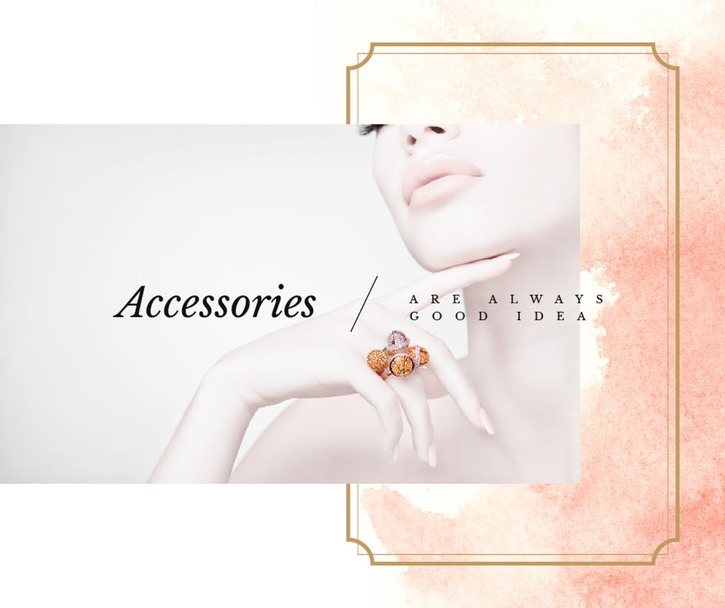 Woman wearing precious Rings Facebookデザインテンプレート