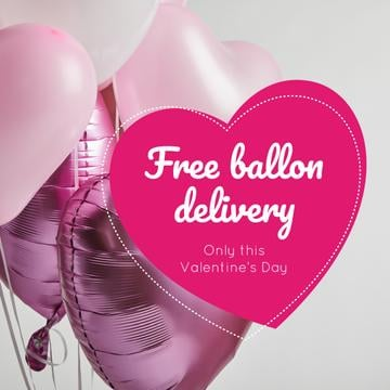 Valentine's Day Balloons Delivery in Pink