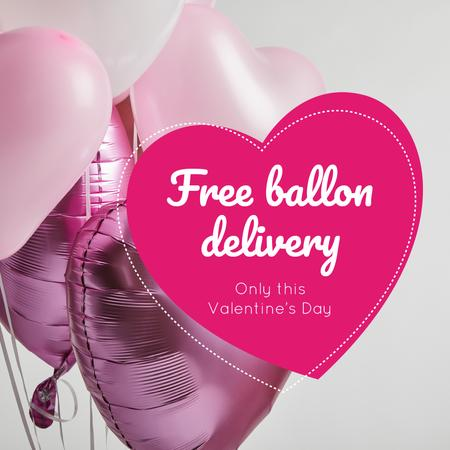 Template di design Valentine's Day Balloons Delivery in Pink Instagram AD